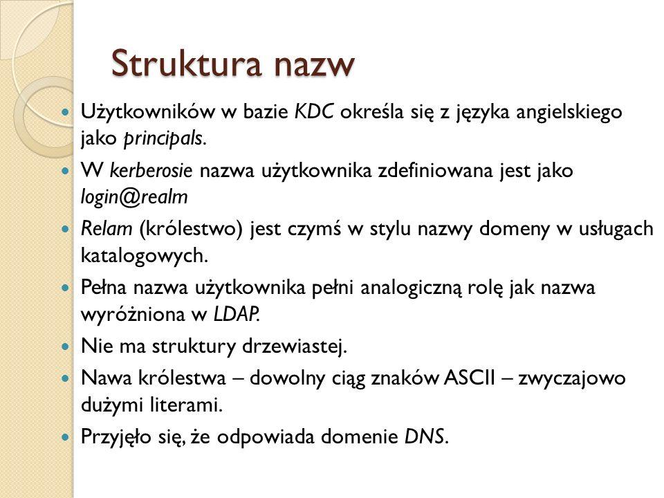 Struktura nazwUżytkowników w bazie KDC określa się z języka angielskiego jako principals.