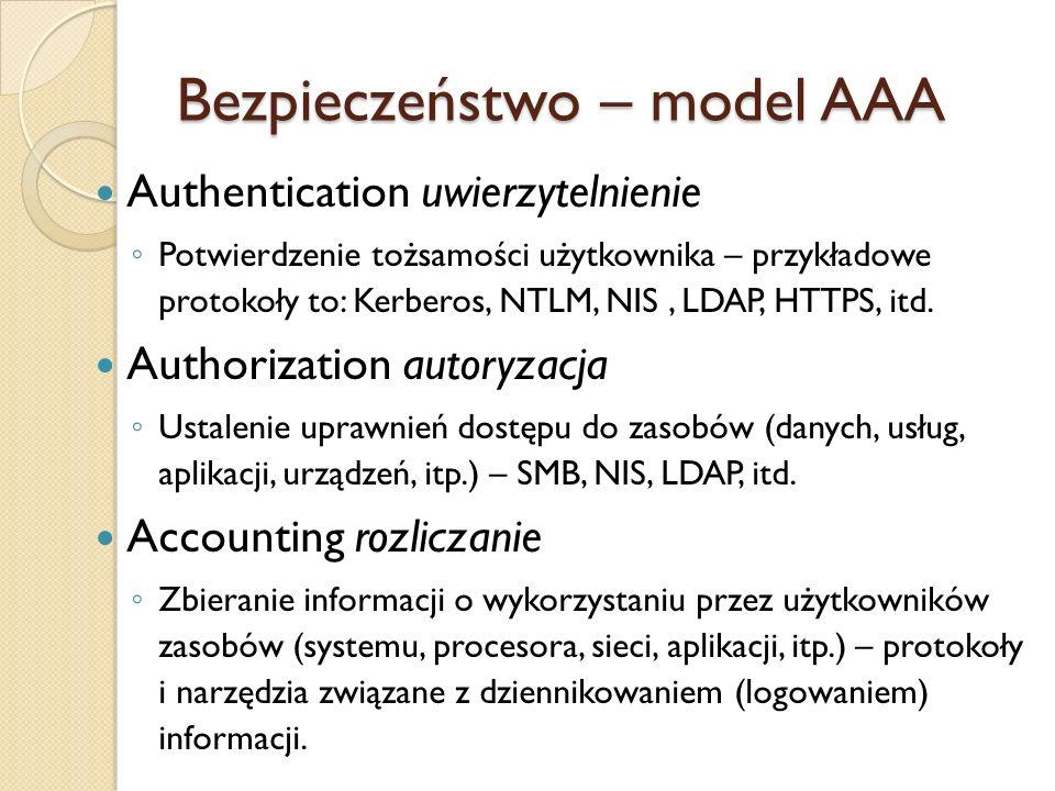 Bezpieczeństwo – model AAA