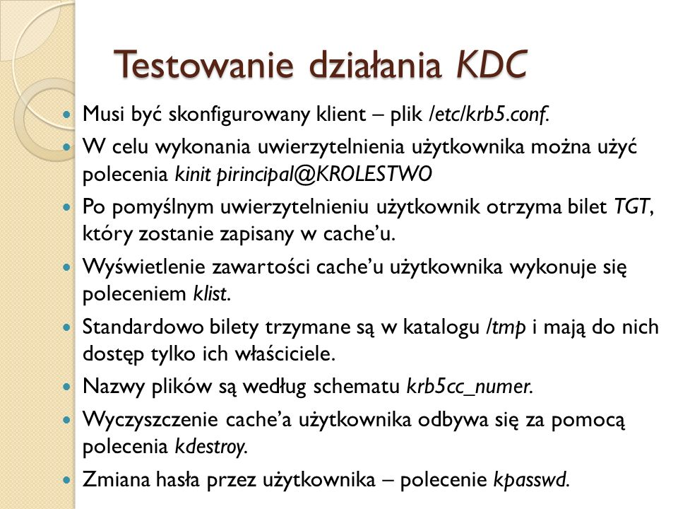 Testowanie działania KDC