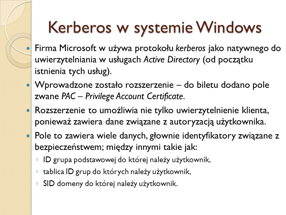 Kerberos w systemie Windows