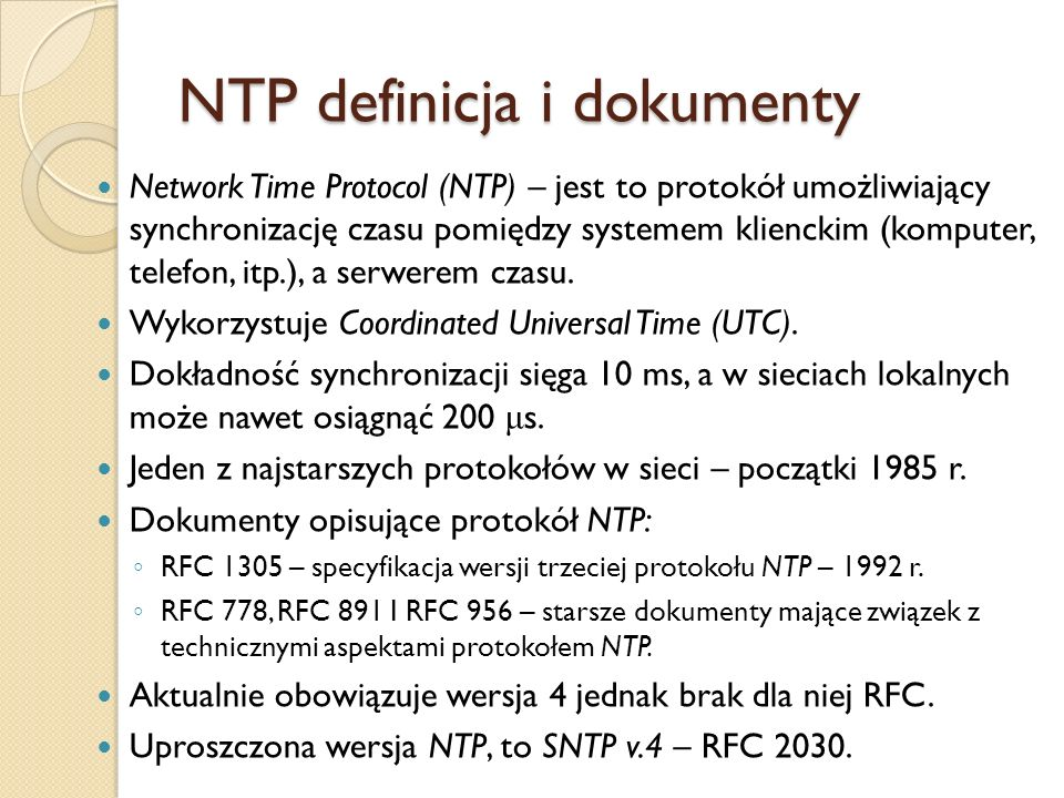 NTP definicja i dokumenty