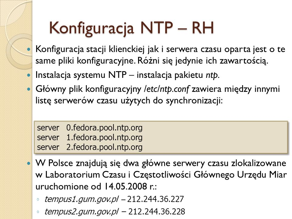 Konfiguracja NTP – RH