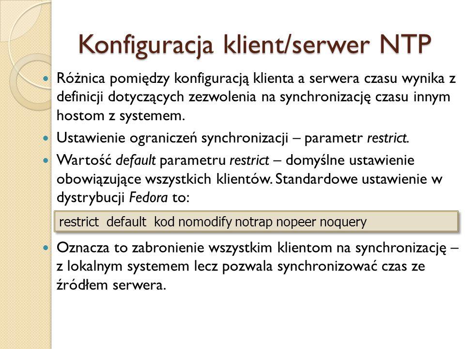 Konfiguracja klient/serwer NTP