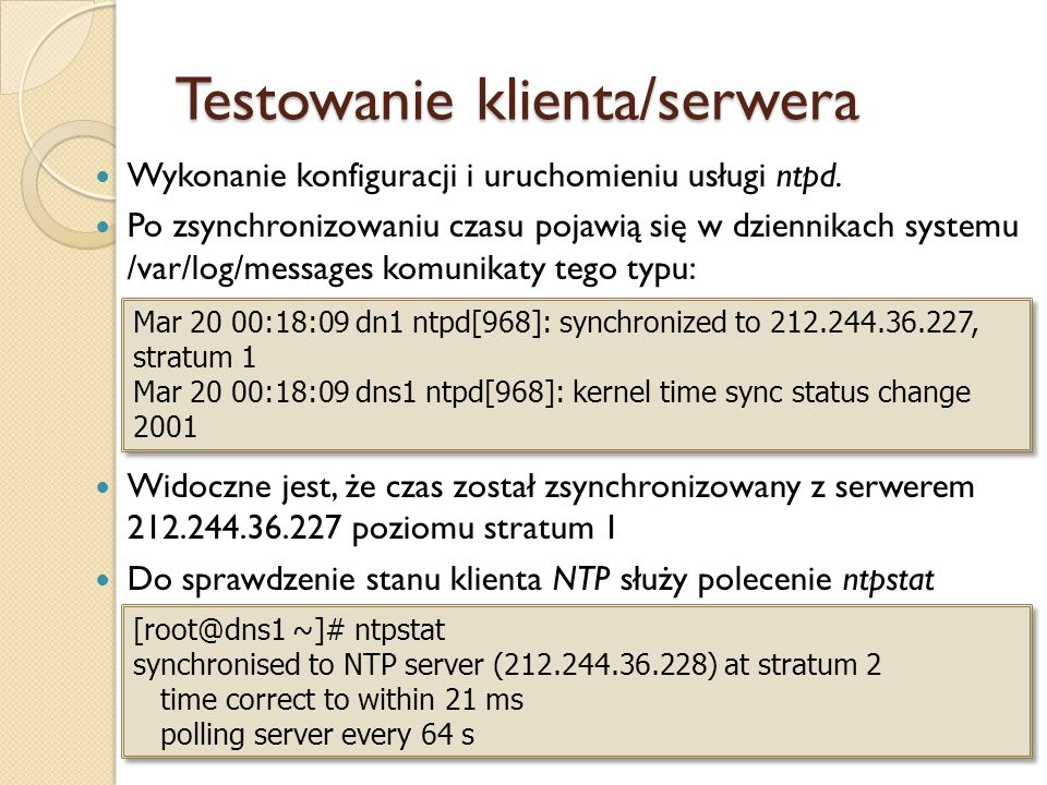 Testowanie klienta/serwera