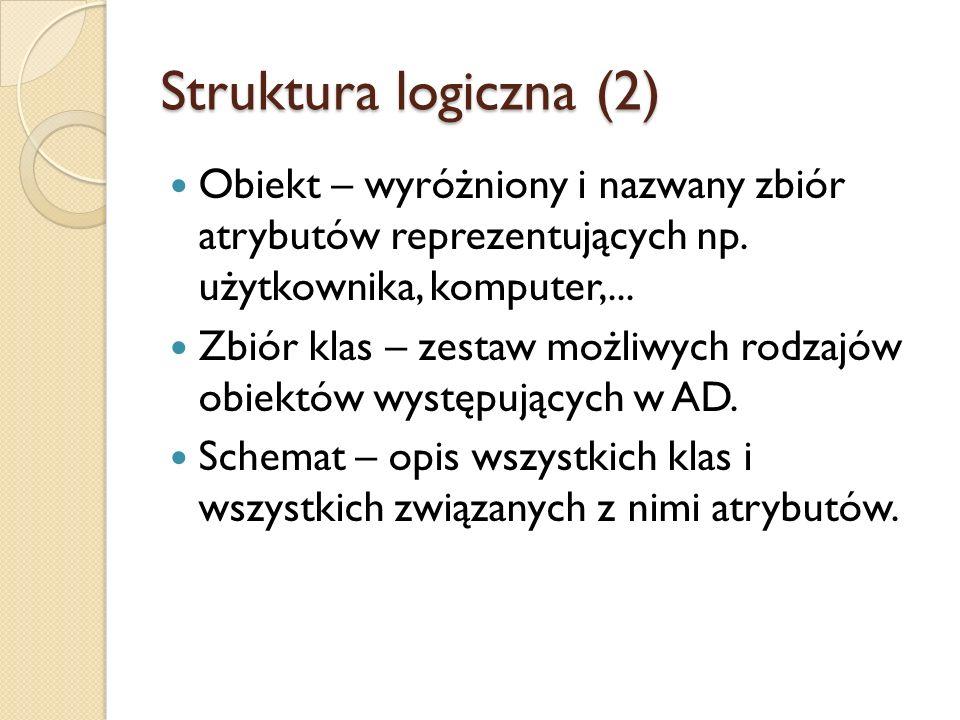 Struktura logiczna (2) Obiekt – wyróżniony i nazwany zbiór atrybutów reprezentujących np. użytkownika, komputer,...