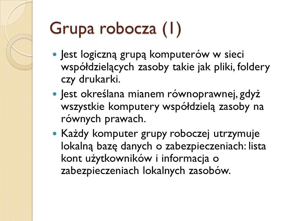 Grupa robocza (1) Jest logiczną grupą komputerów w sieci współdzielących zasoby takie jak pliki, foldery czy drukarki.