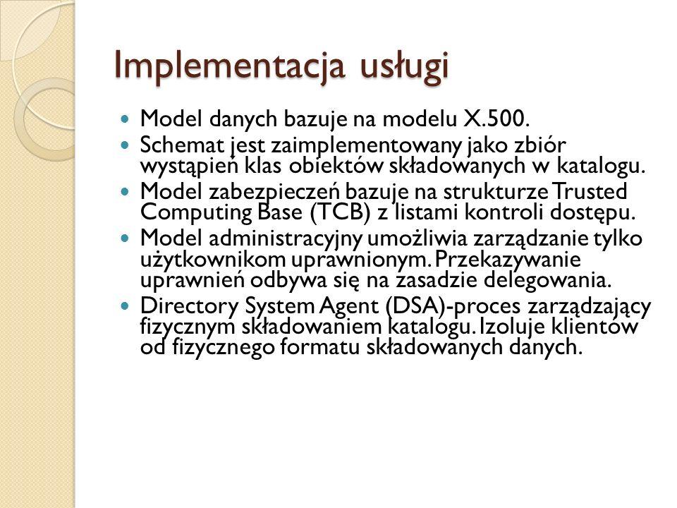 Implementacja usługi Model danych bazuje na modelu X.500.