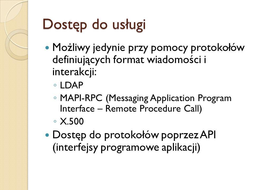 Dostęp do usługi Możliwy jedynie przy pomocy protokołów definiujących format wiadomości i interakcji:
