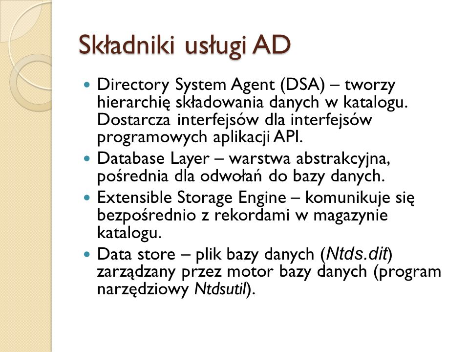 Składniki usługi AD
