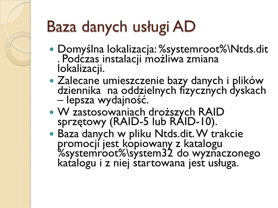 Baza danych usługi AD Domyślna lokalizacja: %systemroot%\Ntds.dit . Podczas instalacji możliwa zmiana lokalizacji.