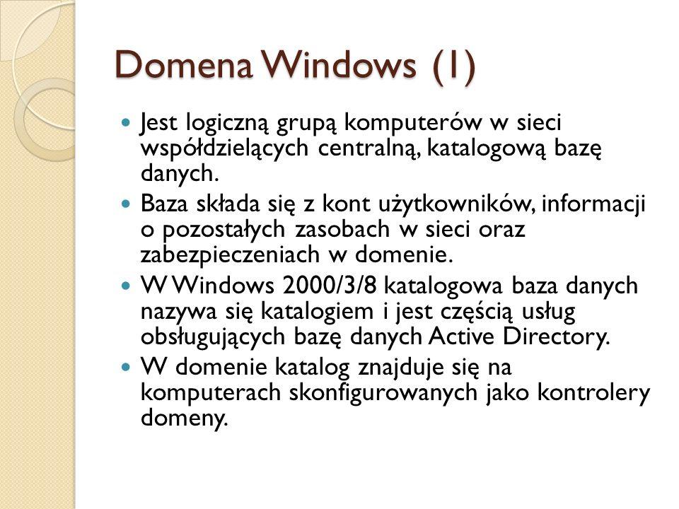 Domena Windows (1) Jest logiczną grupą komputerów w sieci współdzielących centralną, katalogową bazę danych.