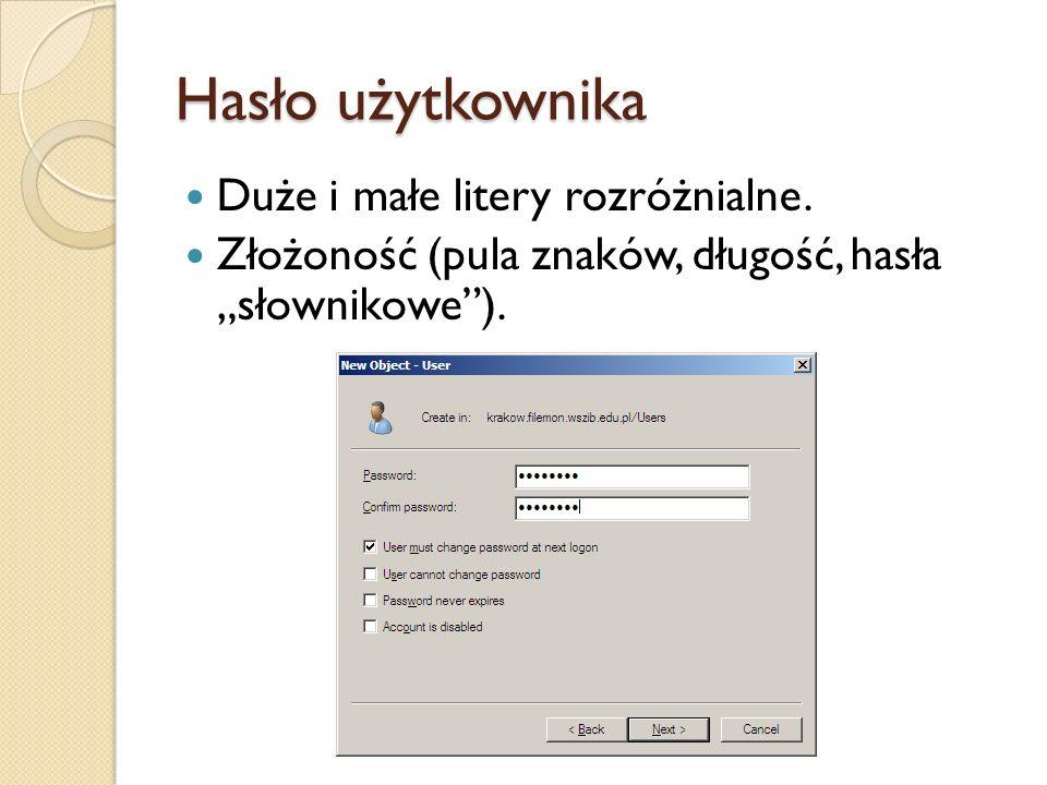 Hasło użytkownika Duże i małe litery rozróżnialne.