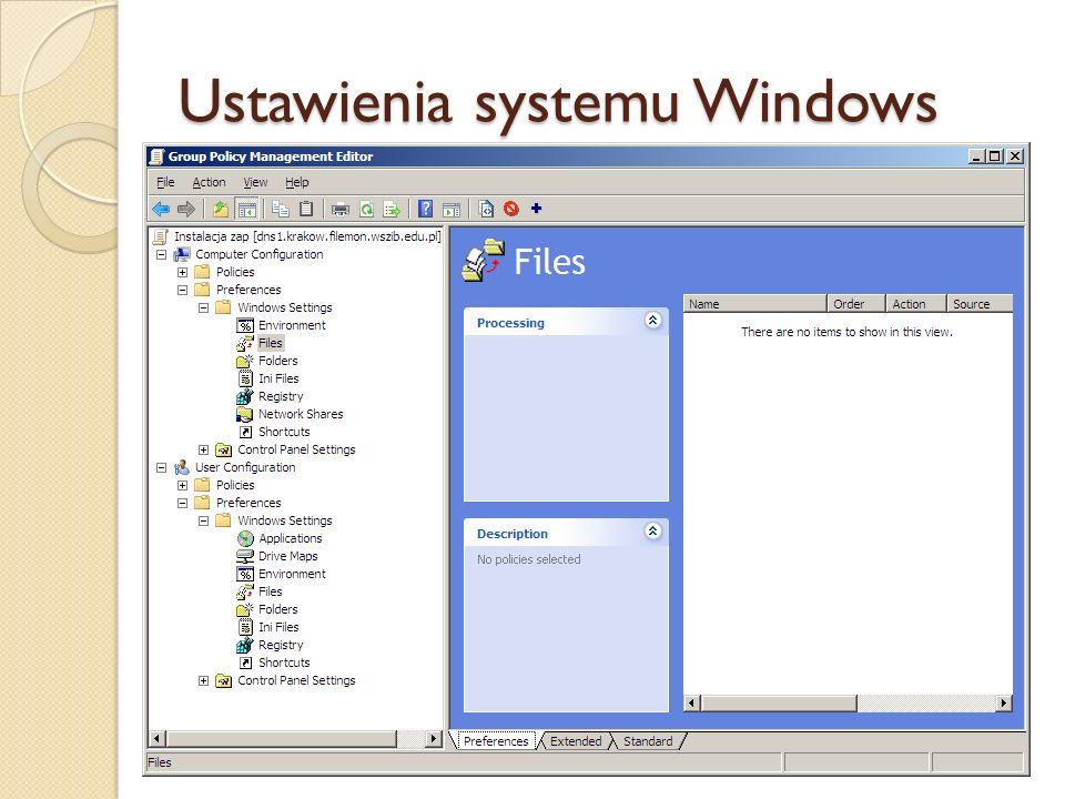 Ustawienia systemu Windows