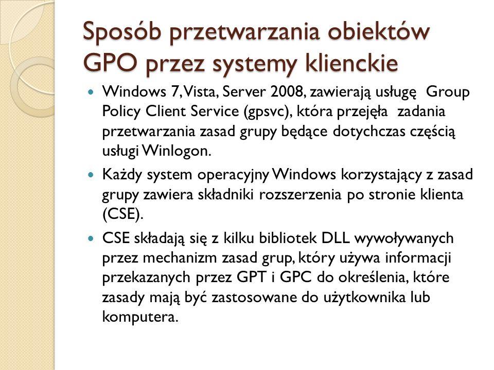 Sposób przetwarzania obiektów GPO przez systemy klienckie