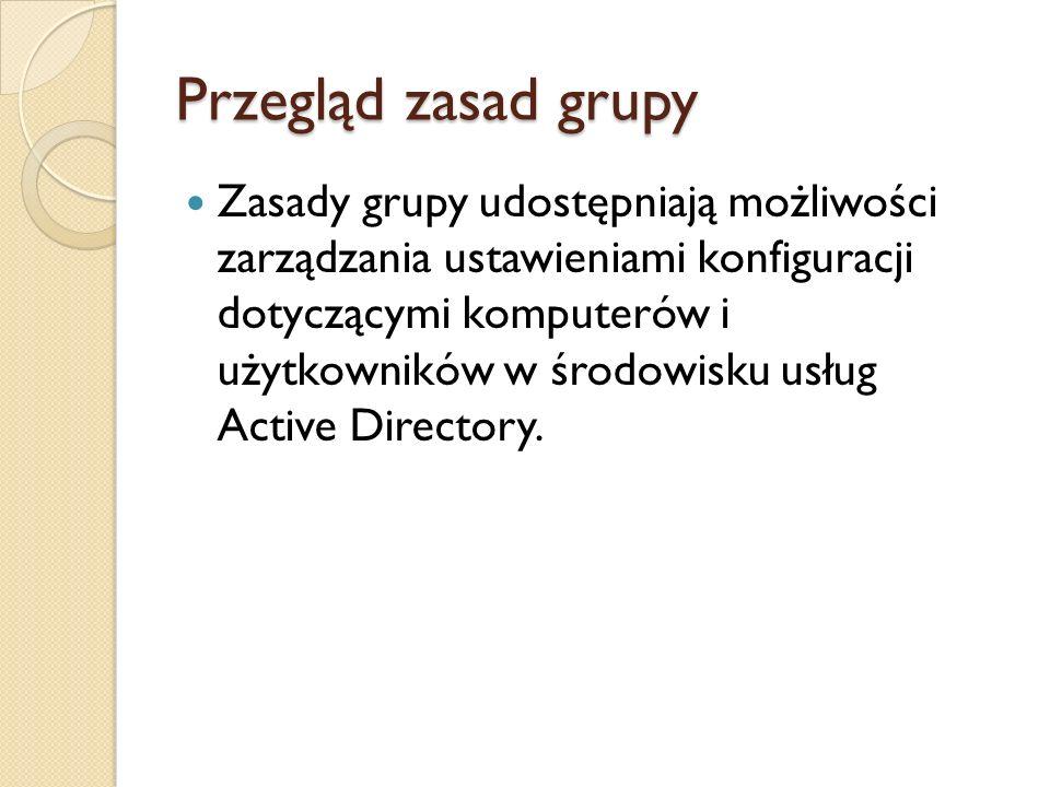 Przegląd zasad grupy
