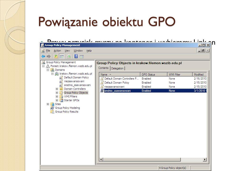 Powiązanie obiektu GPO