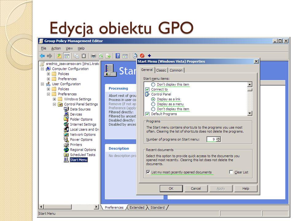 Edycja obiektu GPO
