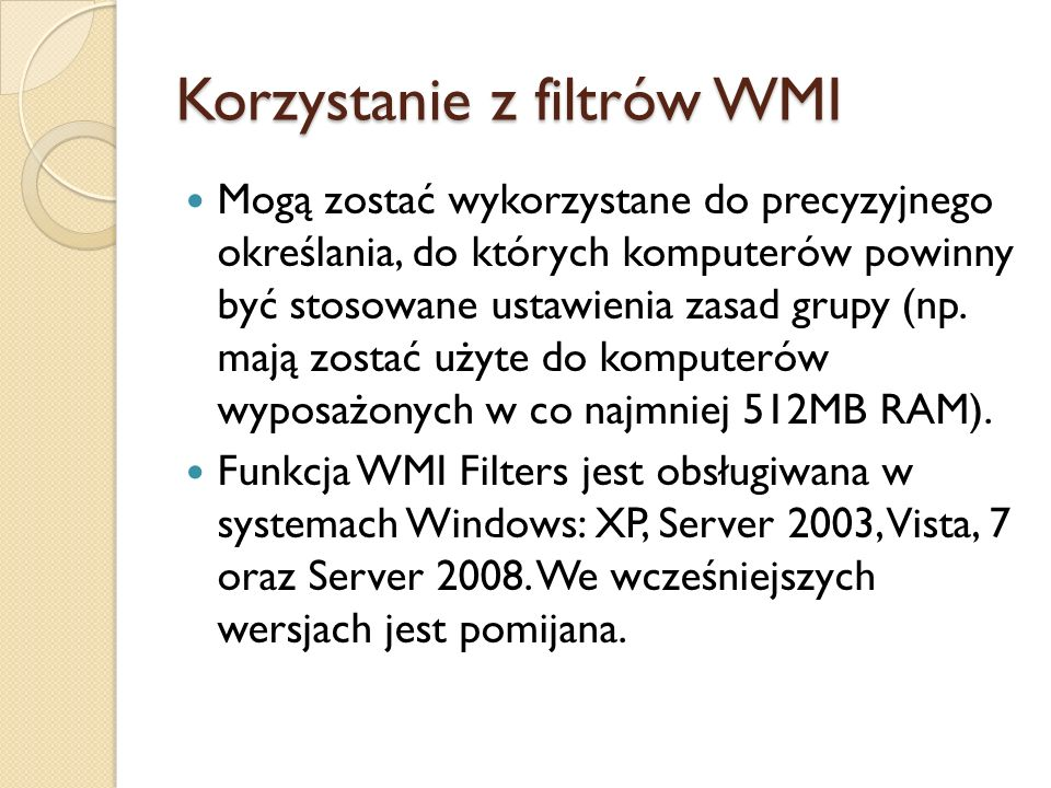 Korzystanie z filtrów WMI