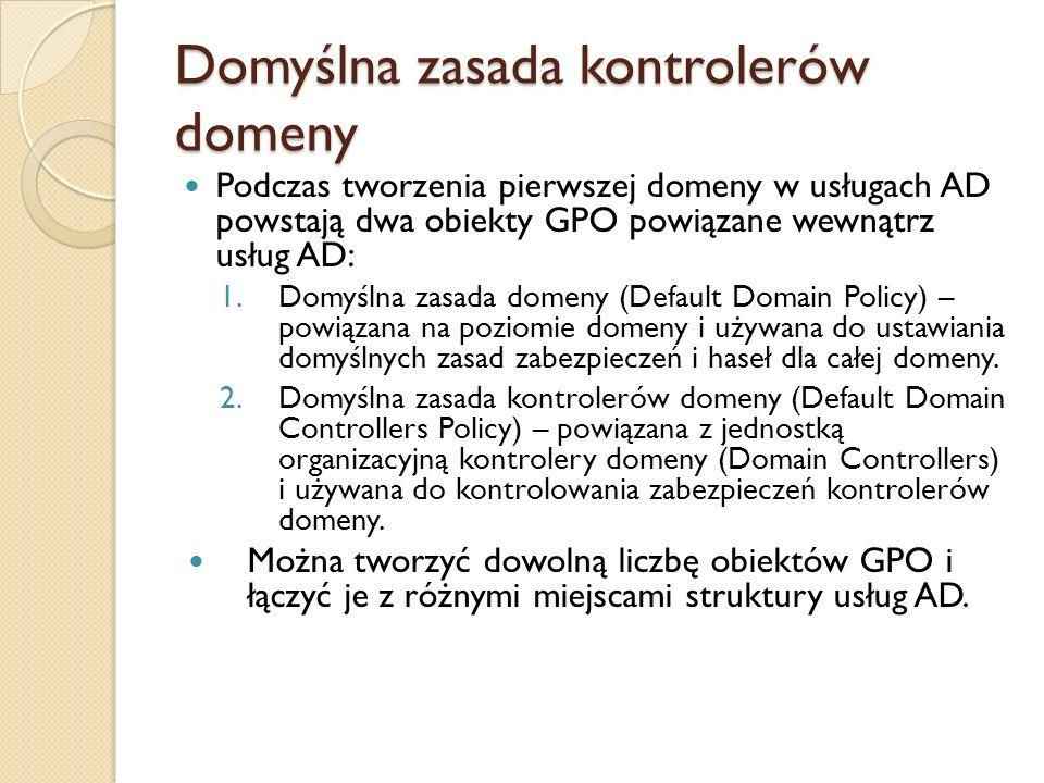 Domyślna zasada kontrolerów domeny
