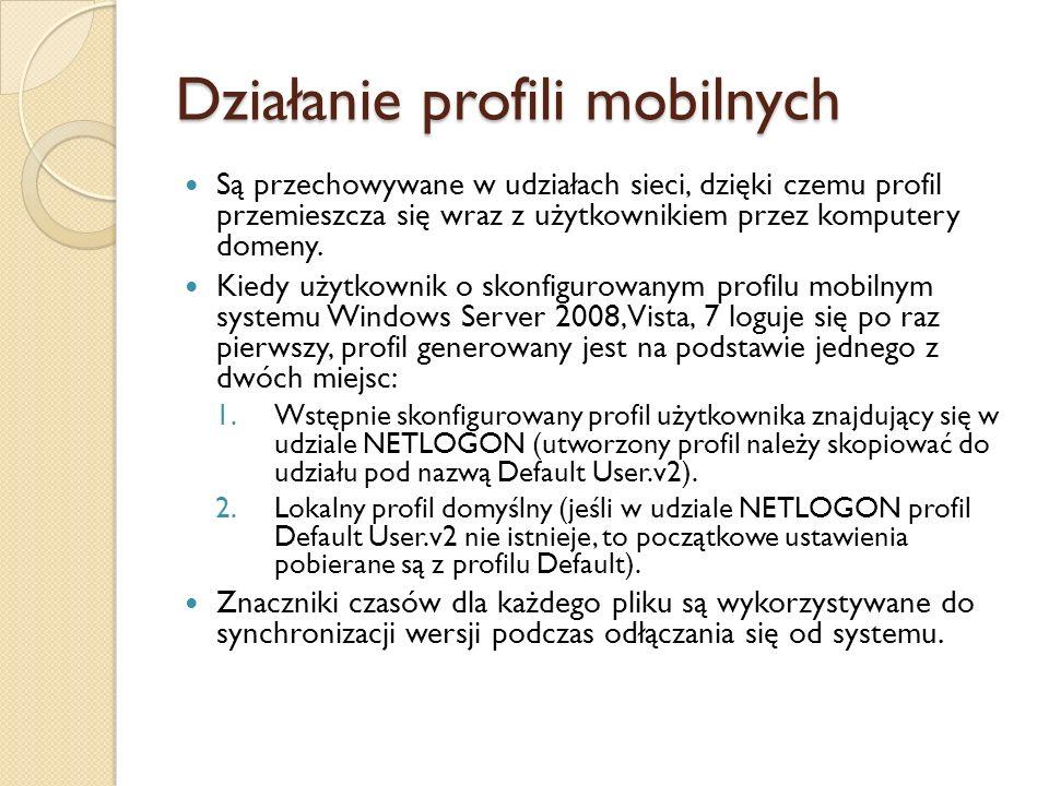 Działanie profili mobilnych