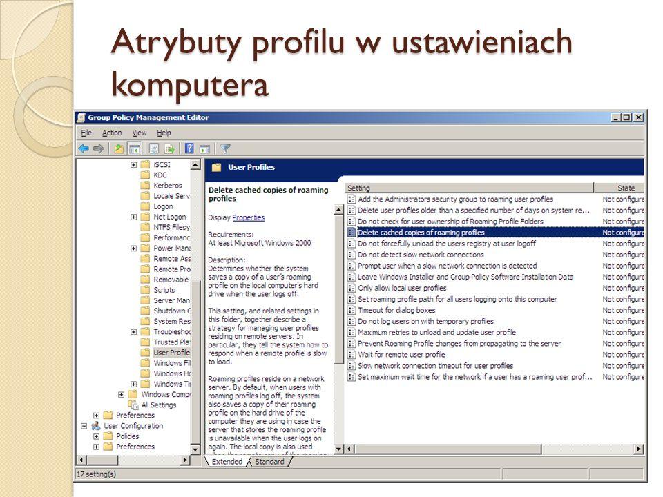 Atrybuty profilu w ustawieniach komputera