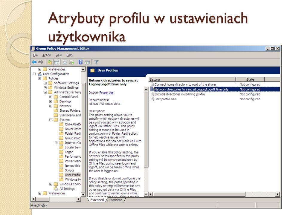Atrybuty profilu w ustawieniach użytkownika