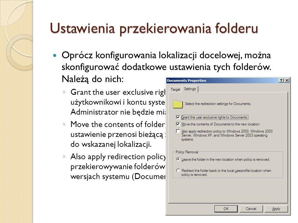Ustawienia przekierowania folderu