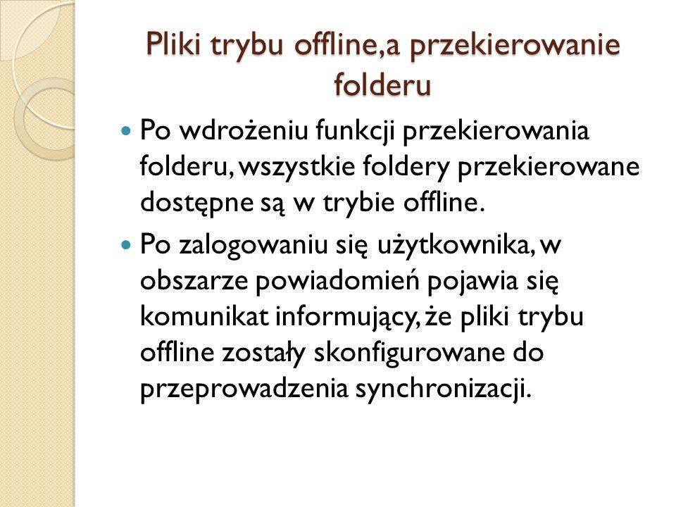 Pliki trybu offline,a przekierowanie folderu
