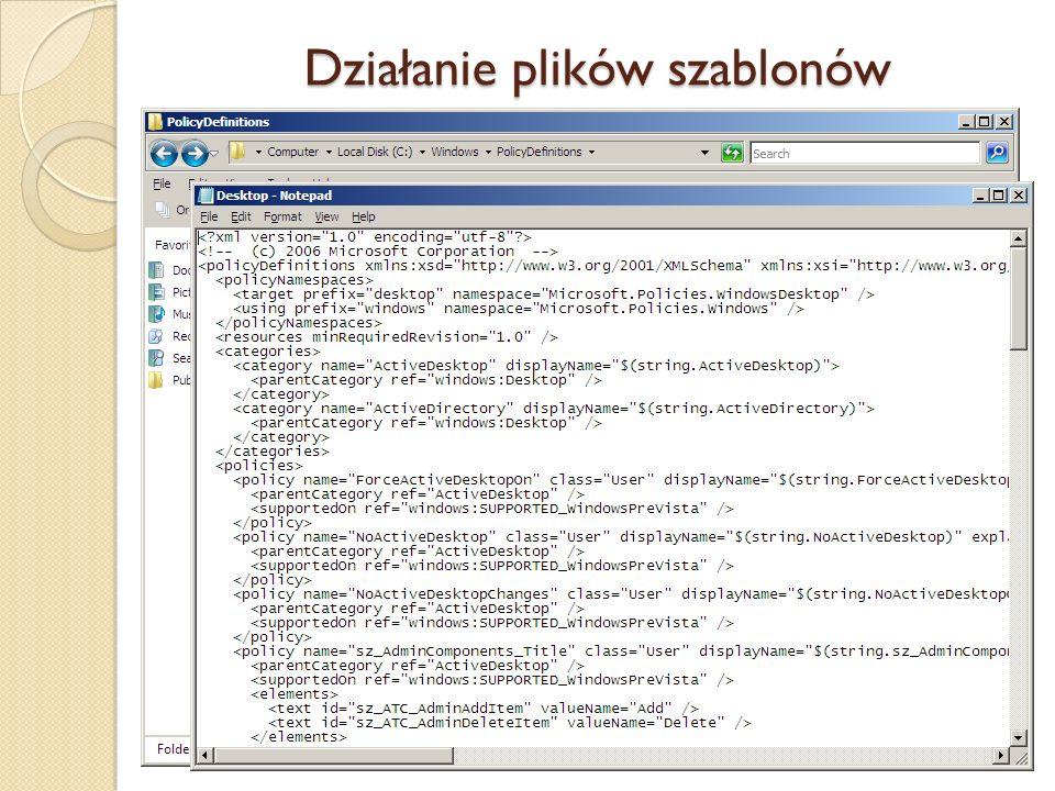 Działanie plików szablonów (Windows Server 2008, Vista, 7)