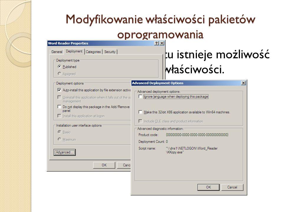 Modyfikowanie właściwości pakietów oprogramowania