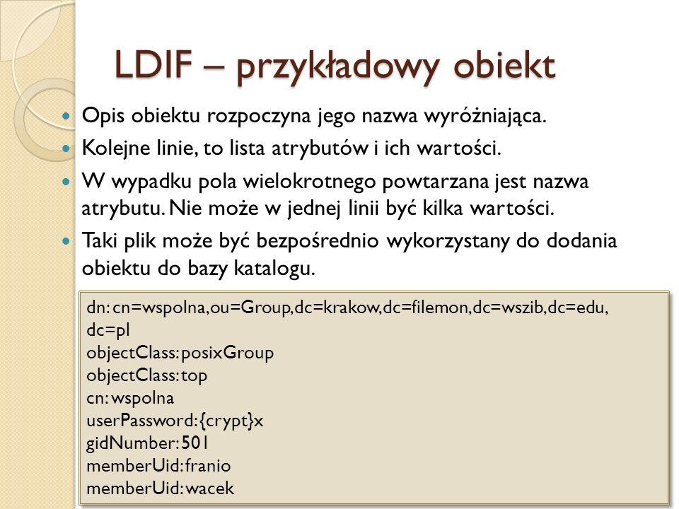 LDIF – przykładowy obiekt