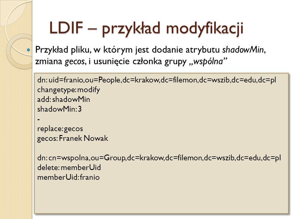 LDIF – przykład modyfikacji