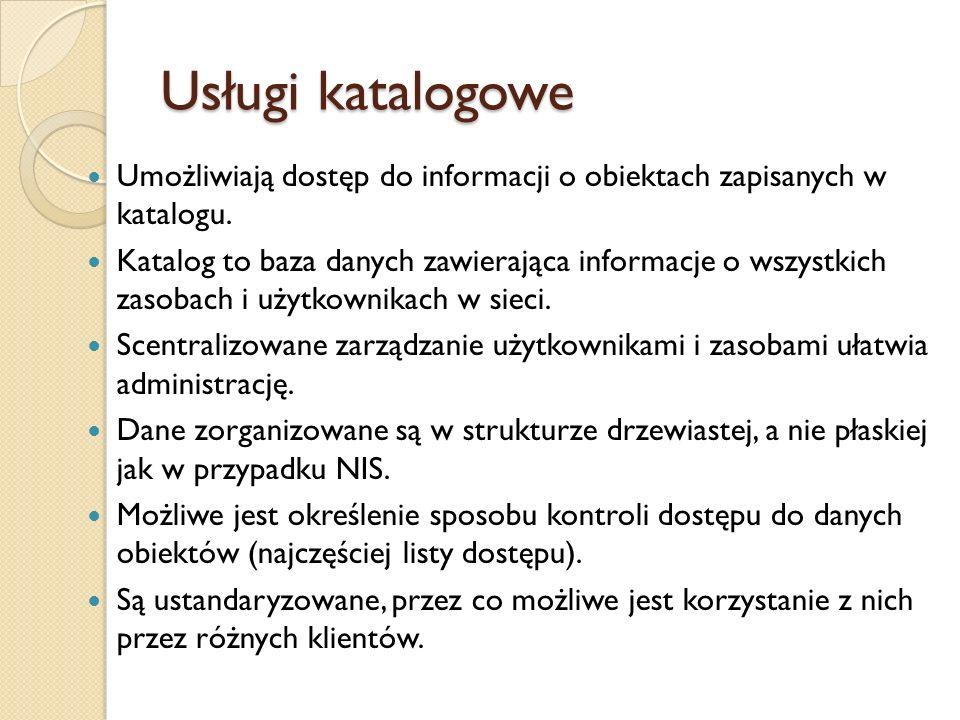 Usługi katalogowe Umożliwiają dostęp do informacji o obiektach zapisanych w katalogu.