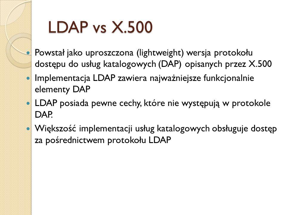 LDAP vs X.500 Powstał jako uproszczona (lightweight) wersja protokołu dostępu do usług katalogowych (DAP) opisanych przez X.500.