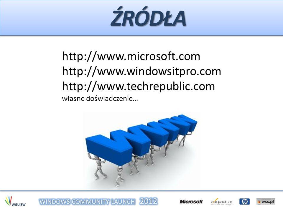Źródła http://www.microsoft.com http://www.windowsitpro.com