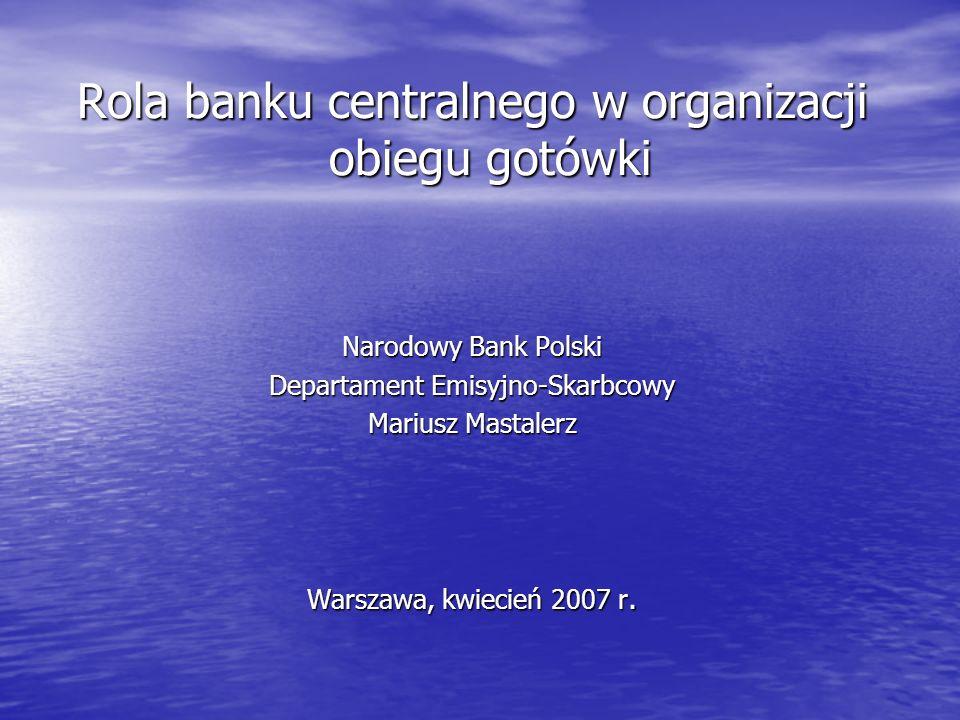 Rola banku centralnego w organizacji obiegu gotówki