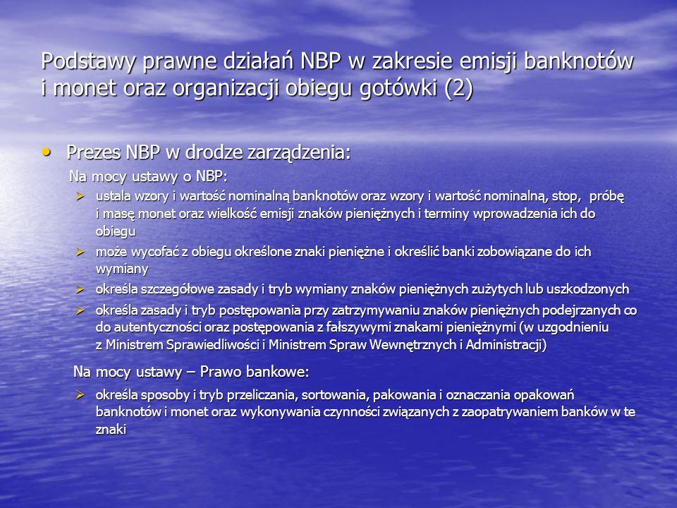Podstawy prawne działań NBP w zakresie emisji banknotów i monet oraz organizacji obiegu gotówki (2)