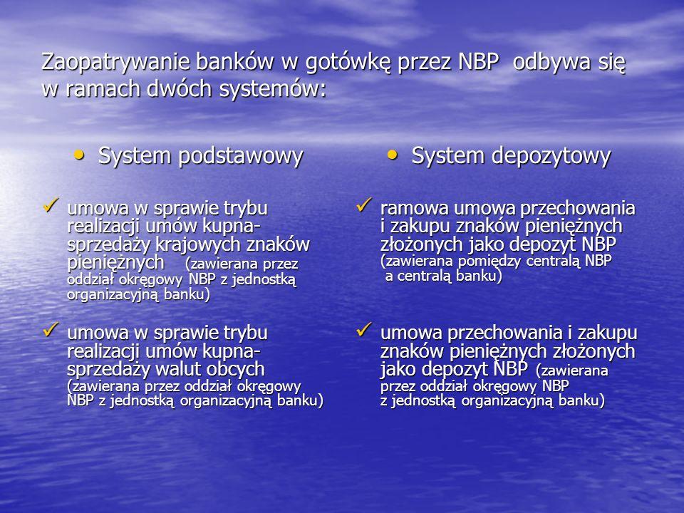 Zaopatrywanie banków w gotówkę przez NBP odbywa się w ramach dwóch systemów: