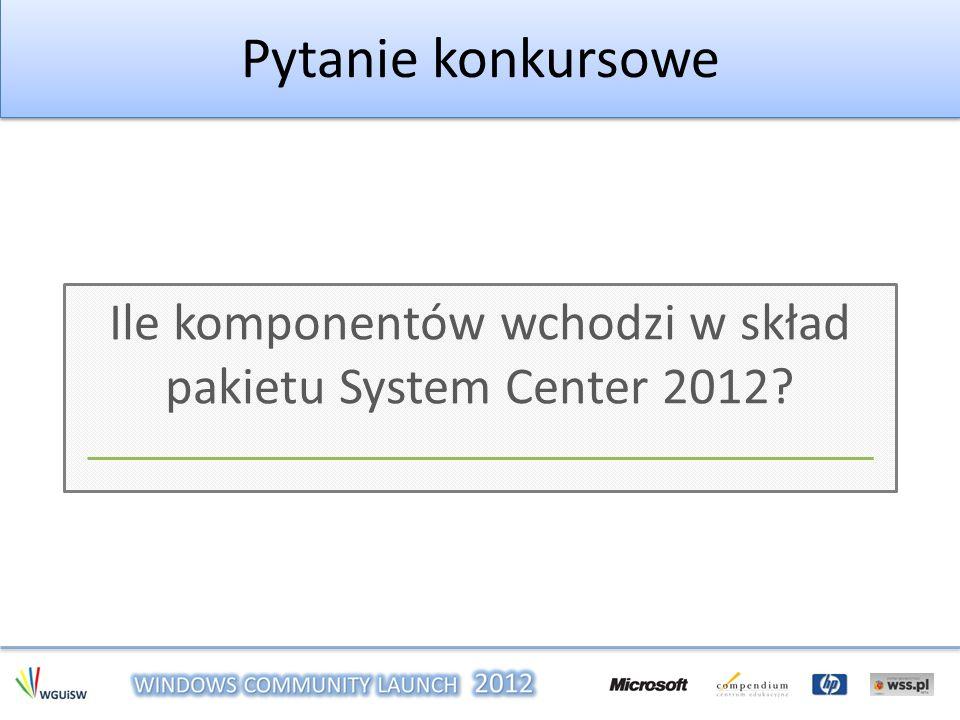 Ile komponentów wchodzi w skład pakietu System Center 2012