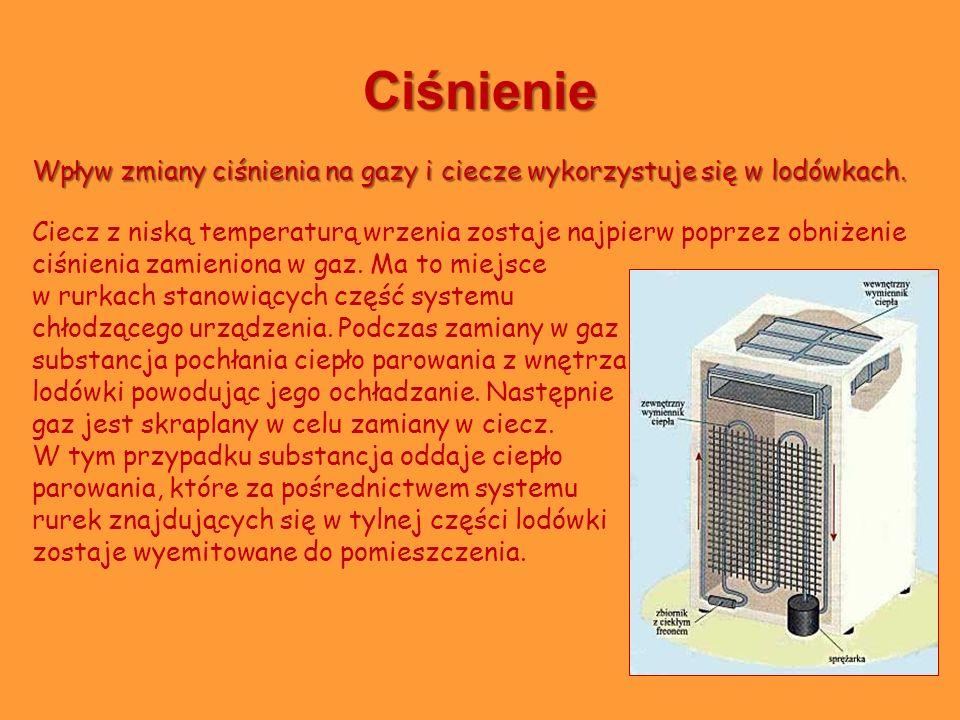 Ciśnienie Wpływ zmiany ciśnienia na gazy i ciecze wykorzystuje się w lodówkach.