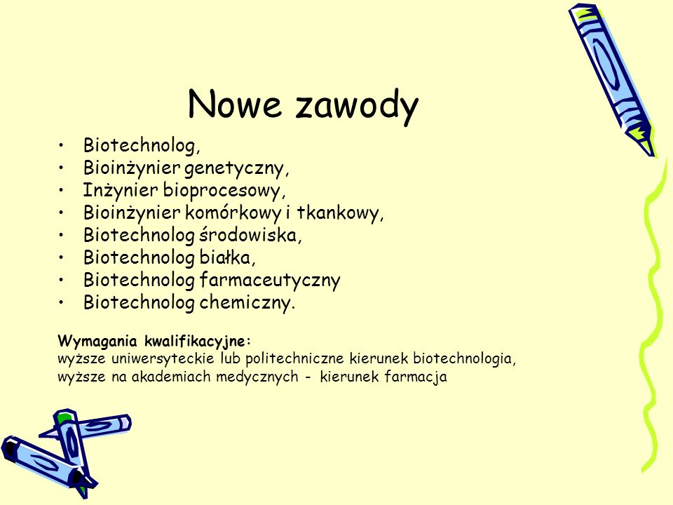 Nowe zawody Biotechnolog, Bioinżynier genetyczny,