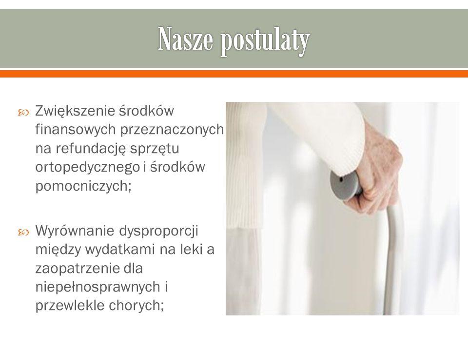 Nasze postulaty Zwiększenie środków finansowych przeznaczonych na refundację sprzętu ortopedycznego i środków pomocniczych;