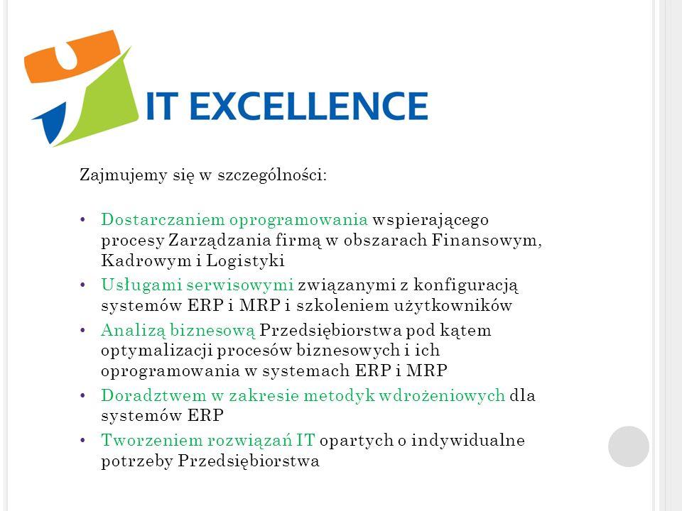 IT Excellence Sp. Z o.o. Zajmujemy się w szczególności: