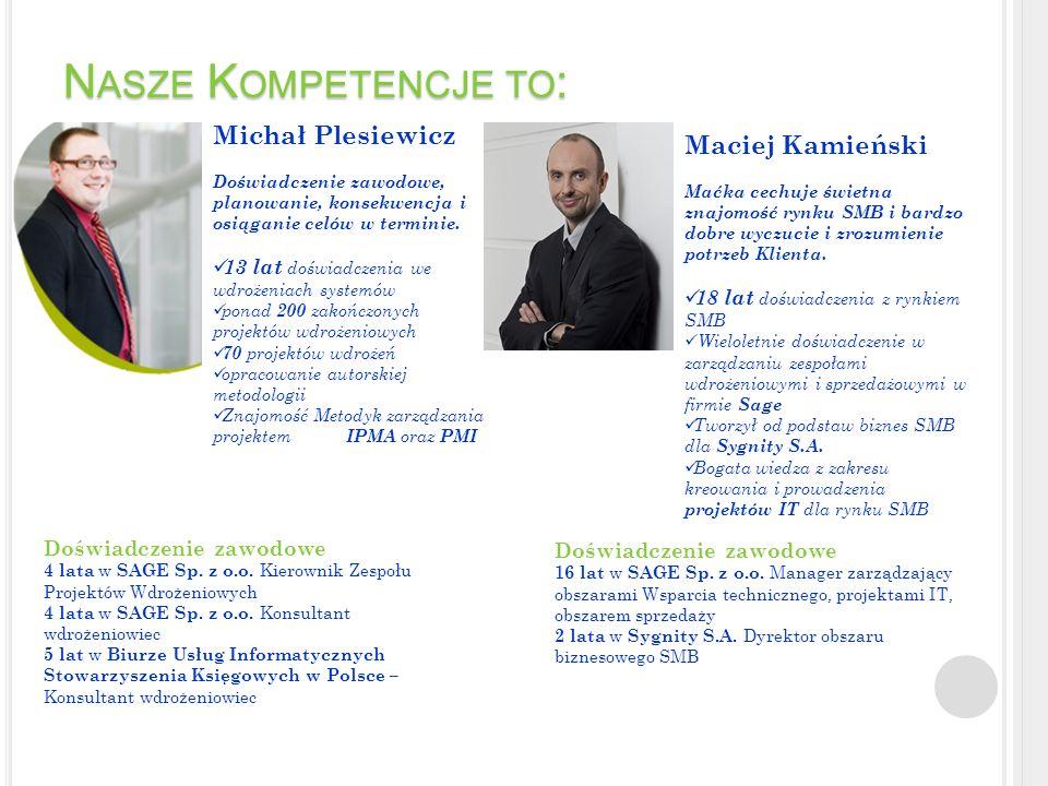 Nasze Kompetencje to: Michał Plesiewicz Maciej Kamieński