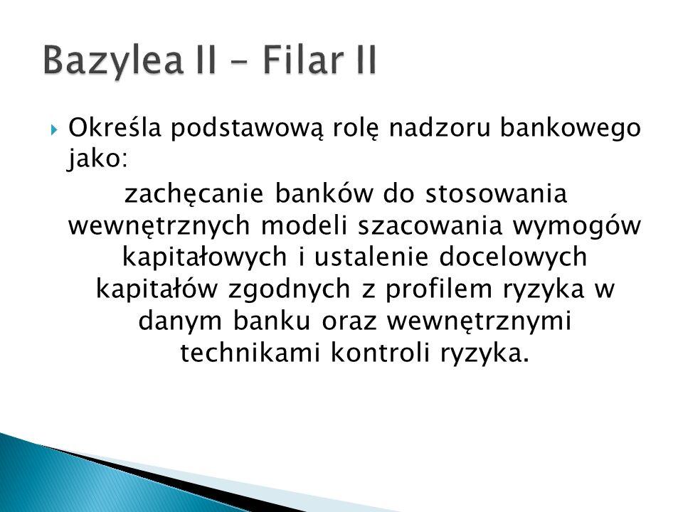 Bazylea II – Filar II Określa podstawową rolę nadzoru bankowego jako: