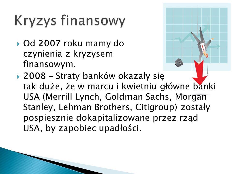 Kryzys finansowy Od 2007 roku mamy do czynienia z kryzysem finansowym.