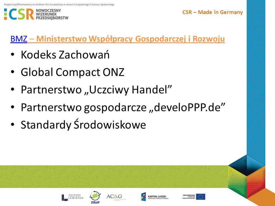 "Partnerstwo ""Uczciwy Handel Partnerstwo gospodarcze ""develoPPP.de"
