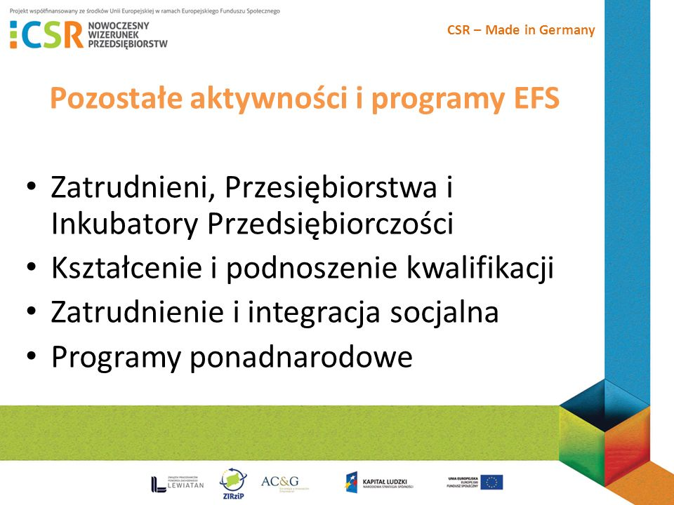 Pozostałe aktywności i programy EFS