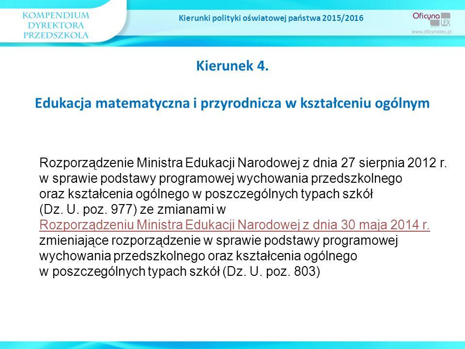 Kierunek 4. Edukacja matematyczna i przyrodnicza w kształceniu ogólnym