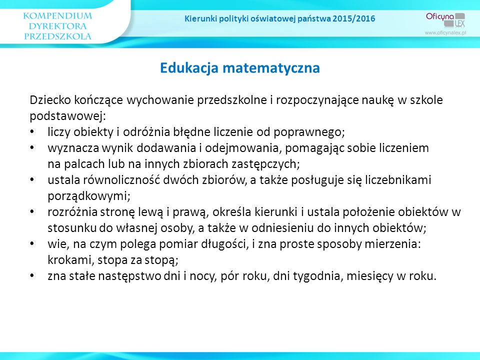 Kierunki polityki oświatowej państwa 2015/2016 Edukacja matematyczna